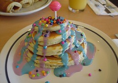 Fun For Breakfast (Princessofthedamned) Tags: pancakes breakfast kid delicious blueberry monday ihop boysenberry lollypop sucker pictureaday chocolatechips march31 internationhouseofpancakes whocakes rainbowchocolatechips
