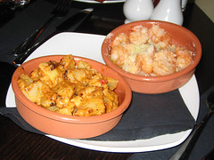 King prawns with an Italian cheese and Garlic crust AND Patatas Bravas at Edinburgh's Ivory Lounge