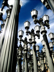 lightposts,   #3 in explore ! (ashley rose,) Tags: blue light sky up look clouds perspective lightbulbs lookingup explore bulbs lightposts upwards lampposts explored ashleyrose ashleyrosex