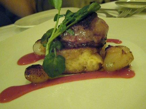 seared hudson valley foie gras on pain perdu with roasted cipollini and strawberry coulis ($22)