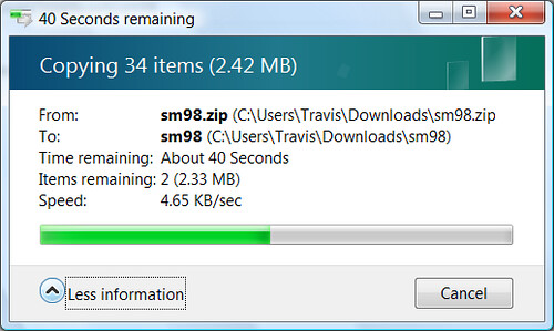 over 40 seconds to extract a 2.33MB zip file