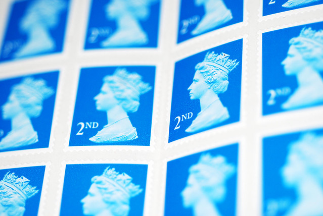 A photograph of a sheet of second class postage stamps from England