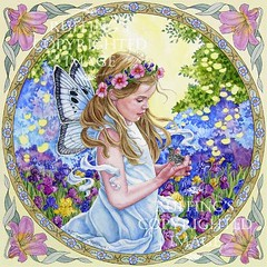 """""""The Fairy and the Dove"""" Fairy Watercolor by Elizabeth Ruffing"""