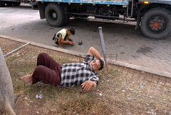 TRUCKING IN INDONESIA (Claude  BARUTEL) Tags: sleeping truck sumatra indonesia island nap driver