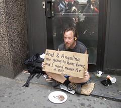 Brangelina's biggest fan (hbomb1947 the turnstile-jumper) Tags: nyc newyorkcity newyork interestingness manhattan homeless gothamist 2008 panhandler 42ndstreet west42ndstreet brangelina i13 exploretop20 june2008 collegefundforthetwins ronaldmartin
