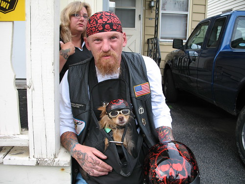Biker dude and dog pimped out