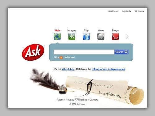 July 4th Logo at Ask.com