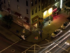 Above the Corner, After Dark (New York, NY) by takomabibelot, on Flickr
