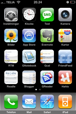 Iphone homepage