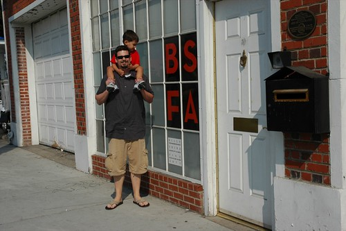 At the outside of Billy Shire Fine Arts Gallery