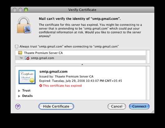 Google Mail certificate
