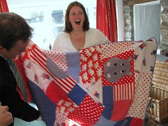 Megs opens the quilt