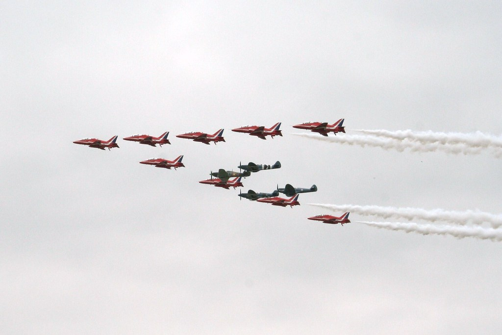 Red Arrows,spitfires,hurricanes