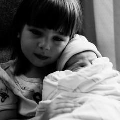 Katie and Madelyn - first photo together. (pQbon) Tags: blackandwhite bw baby film hospital kodak tmax birth newborn madelyn eos3 ef2470f28l