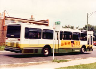 Eastbound CTA 1985 M.A.N transit bus heading eastbound on West 111th Street. Chicago Illinois. August 1990.