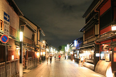 super over exposed gion street ([DEADCITIES]) Tags: street japan night kyoto traditional    gion iso1600 timberbuilding japanesearchitecture deadcitiesnet