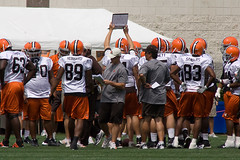 Cleveland Browns Training Camp (Four Symbols) Tags: ohio orange brown white black game dawg sports field sport training football team uniform cleveland nfl helmet professional american browns jersey practice jerseys footballfield cb northern clevelandbrowns trapper afc americanfootball td savage trainingcamp berea cle lerner chomps crennel americanfootballconference bereaohio romeocrennel bereaoh logoless brownieelf northerndivision philsavage randylerner