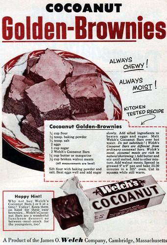 Cocoanut Brownies ad 1953