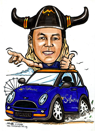 Caricature for SafMarine on Sunroof Mini Cooper