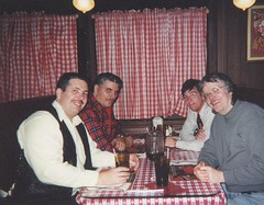 Eddie K and the guys having a pizza outing at Gino's East in Oak Lawn Illinois. ( Gone.) December 2000.