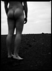 Ass in sand (annaoskarsdottir) Tags: annaoskarsdottir spring 2008 school softfocus stones naked boy ass sky film bw mamiya iceland nature sea vk landscape beach ocean