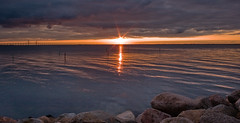 resund Sunset (Rutger Blom) Tags: sea sky sun sunlight sol public water stone skyline clouds skne rocks europa europe sweden horizon skandinavien himmel wolken zee sverige lucht scandinavia vatten zon malmo scania hav zonlicht oresund zweden moln stenen resund resundsbron stenar resundsbron skane horisont solsken scandinavien malmo solljus resundsbridge resundsbron resundsbridge
