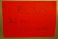 Petrina's 'Busy - do not disturb' sign
