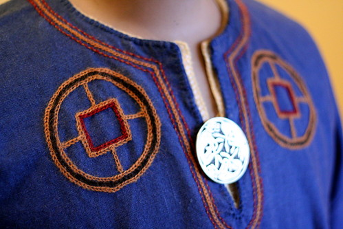 Blue Viking Tunic Embroidery