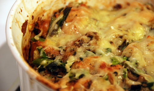 Asparagus and Mushroom Bread Pudding