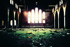 Our Lady's Hospital hall (Cormac Phelan) Tags: ireland abandoned film church 35mm lomo lca xpro lomography lka decay cork perspective velvia derelict phelan cormac