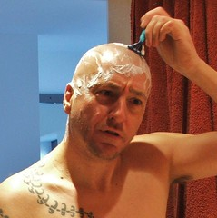 Mark shaving (2xtrouble) Tags: tattoo bathroom head mark shaved bald shaving shave buzzcut shavedhead razor skinhead slaphead shavingcream baldie 2xtrouble slapheid