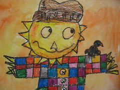 scarecrows (dogboneart) Tags: art crayon elementary scarecrows resist