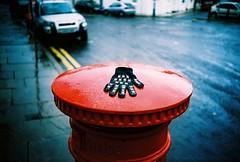 abandoned wet glove (lomokev) Tags: road street red cars abandoned wet car rain lomo lca xpro lomography crossprocessed xprocess dof post pavement lomolca depthoffield sidewalk postbox glove cloths agfa jessops100asaslidefilm agfaprecisa lomograph doubleyellowlines folkestone agfaprecisa100 precisa jessopsslidefilm roll:name=081119lomolca file:name=081119lomolca18 image:selection=tombing yahoo:yourpictures=storms