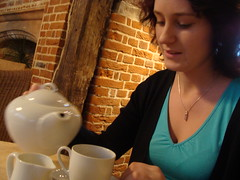 Miss Miller. (lovebirds & seahorses) Tags: girl kent friend tea canterbury cups teapot tearoom pouring tinytimstearoom