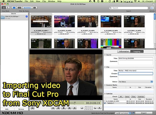 Importing video to Final Cut Pro from Sony XDCAM