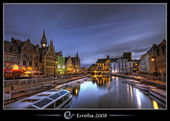 Gent (Ghent) at night, Belgium :: HDR (Erroba) Tags: sunset photoshop canon reflections river lights belgium sigma tips bec 1020mm erlend gent soe hdr graslei leie cs3 3xp photomatix tonemapped tonemapping kartpostal fineartphotos 400d infinestyle erroba robaye erlendrobaye vosplusbellesphotos