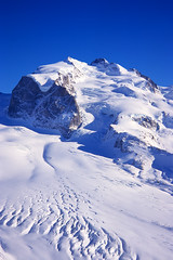 monte rosa massif (H o g n e) Tags: blue winter sky bw white mountain snow mountains alps rock landscape schweiz switzerland landscapes swiss peak explore alpine zermatt monterosa peaks alp rockformations fe2 mountainpeaks mountainpeak explored bildekritikk