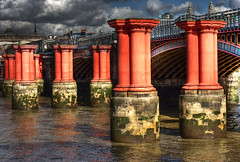 Old Blackfriars Bridge (Joebelle) Tags: old bridge london thames river geotagged ruins explore geotag derelict remains hdr blackfriarsbridge oldlondon historiclondon