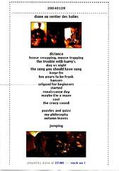 diane - setlist - sentier des halles - 28 janvier 2004