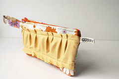 yellow ruffled clutch (Gussy_Sews) Tags: color floral sewing fabric pouch clutch gussy zipped ruffle wristlet maggiewhitley