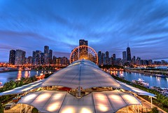 Navy Pier Skyline (Christopher.F Photography) Tags: chicago skyline buildings nikon cityscape sigma ferriswheel navypier bluehour 1020mm hdr d3000