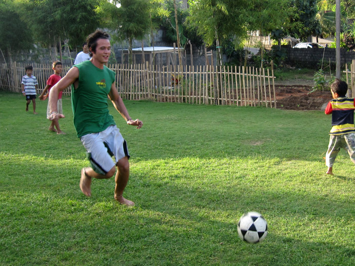 Playing football in Indonesia