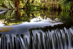 the flow (go wild - NZ outside) Tags: new christchurch reflection water wheel flow zealand nz weir ilam guasdivinas