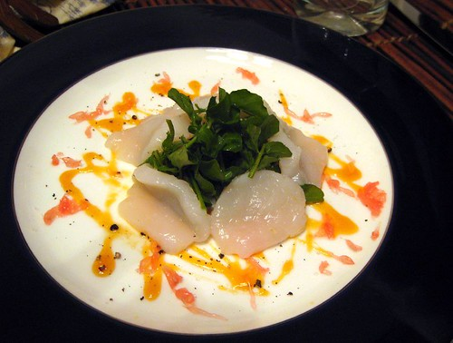 Scallops with Grapefruit and Black Pepper; Watercress Salad