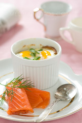 baked eggs on toast, homemade lox (mwhammer) Tags: morning pink orange white color green texture breakfast dill ceramic happy design newspaper cured display antique spoon homemade eggs treat elegant parsley savory lox baked luxurious propstyling sumptuous foodstyling melinahammer