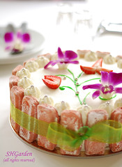 birthday cake for a thai friend (*steveH) Tags: pink food flower cake dessert strawberry orchids sweet explore birthdaycake steveh thaiorchids biscuitsrosesdereims