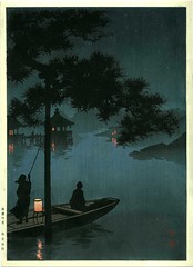 Home sweet home - 'slight night lights' in old Japan - Lake Biwa by Koho Shoda (1871-1946)
