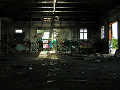 Waterloogatan (Eva the Weaver) Tags: light abandoned gteborg graffiti darkness sweden gothenburg warehouse graff patches patchesoflight waterloogatan
