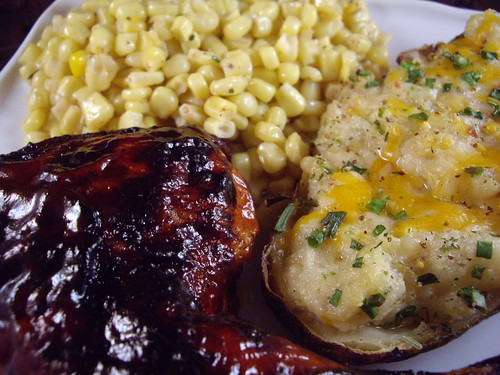 Oven Barbecued Chicken with Twice Baked Potato and Corn