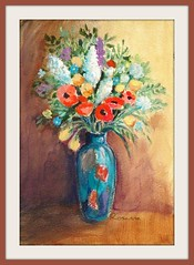 Homage to Redon (annieA) Tags: flowers art painting acrylic bouquet